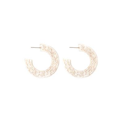 Splendid Iris Pink Etched Acrylic Hoop Earrings