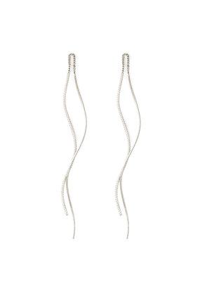 Splendid Iris Silver Textured Threader Earrings With Swirl Back