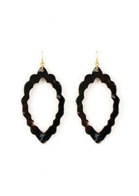 Splendid Iris Black Marbled Acrylic Open Scalloped Oval Earrings