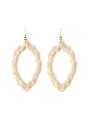 Splendid Iris White Marbled Acrylic Open Scalloped Oval Earrings