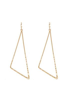 Splendid Iris Gold Long Pulled Triangle Earrings