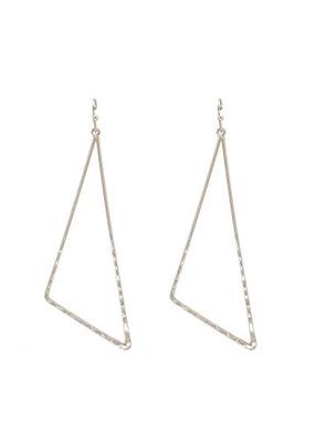 Splendid Iris Silver Long Pulled Triangle Earrings