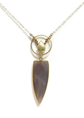 K. Jones Chocolate Moonstone Pendant on Gold Necklace