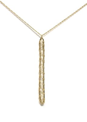 K. Jones Gold Filled Moonstone Vertical Bar Necklace