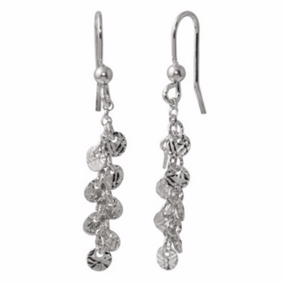 Qualita In Argento Italian Sterling Silver Rhodium Plated Dangling Confetti Earrings
