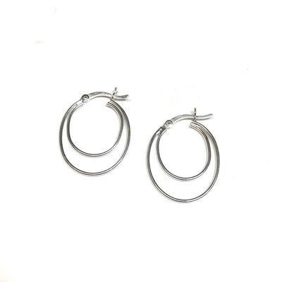 Qualita In Argento Italian Sterling Silver Rhodium Plated Double Oval Hinge Top Hoop Earrings