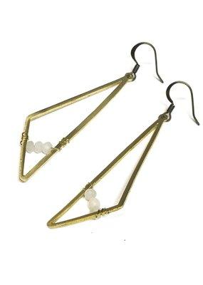 Seeds Jewelry Brass Geometric Moonstone Handmade Earrings