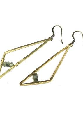 Seeds Jewelry Brass Geometric Amazonite Handmade Earrings
