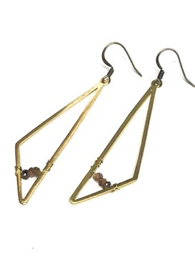 Seeds Jewelry Brass Geometric Rose Quartz Handmade Earrings