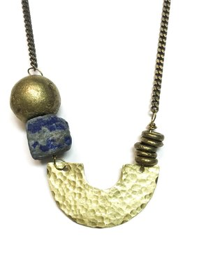 Seeds Jewelry Hammered Brass Half Moon Lapis Stone Handmade Necklace