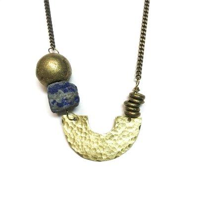 Seeds Jewelry Hammered Brass Half Moon Lapis Stone Handmade Necklace