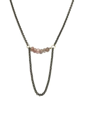 Seeds Jewelry Brass Rose Quartz Stone Half Smile Handmade Necklace