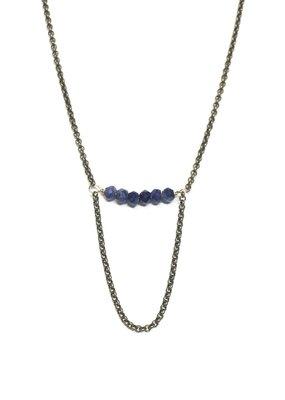Seeds Jewelry Brass Lapis Stone Half Smile Handmade Necklace