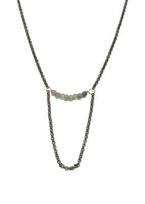 Seeds Jewelry Brass Smokey Quartz Half Smile Handmade Necklace