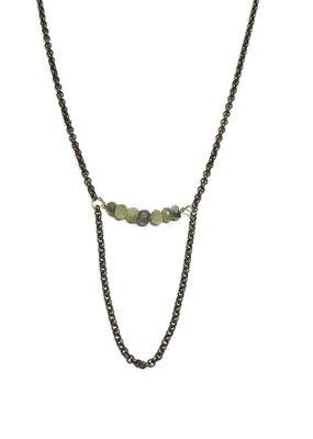 Seeds Jewelry Brass Amazonite Stone Half Smile Handmade Necklace