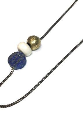 Seeds Jewelry Hammered Brass Lapis Stone Handmade Necklace