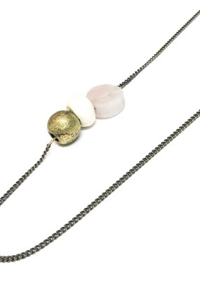 Seeds Jewelry Hammered Brass Rose Quartz Stone Handmade Necklace