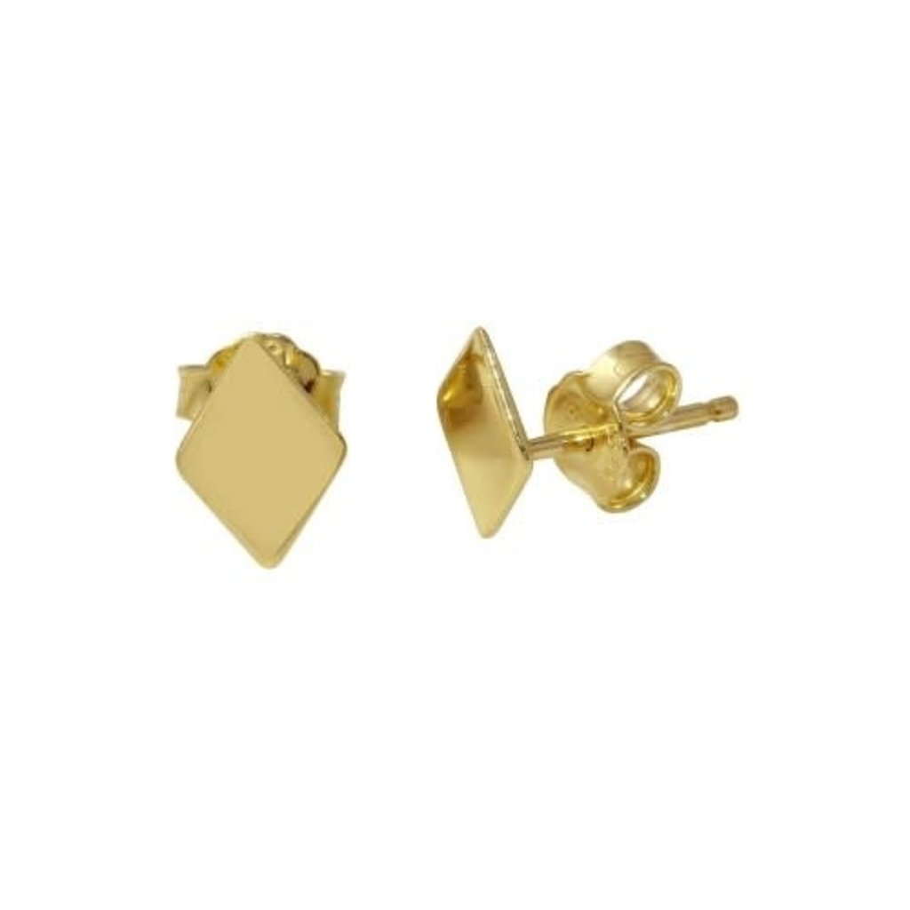 Qualita In Argento Italian Sterling Gold Diamond Shaped Studs