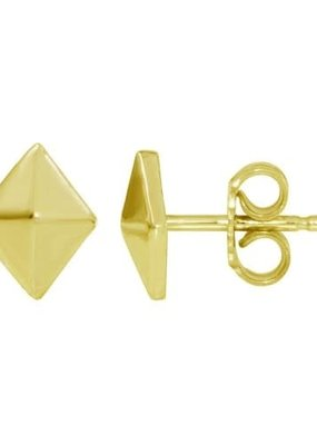 Qualita In Argento Italian Sterling Gold Define Diamond Shaped Studs