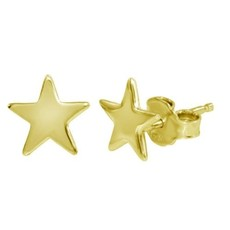 Qualita In Argento Italian Sterling Gold Star Studs