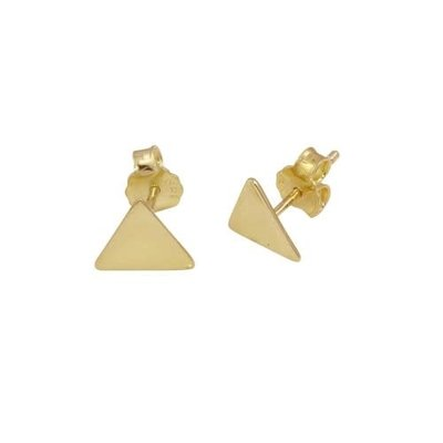 Qualita In Argento Italian Sterling Gold Triangle Studs