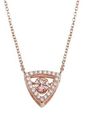 Qualita In Argento Sterling Rose Gold Triangle Champagne CZ Dancing Swarovski