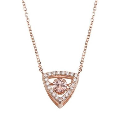 Sterling Rose Gold Triangle Champagne CZ Dancing Swarovski