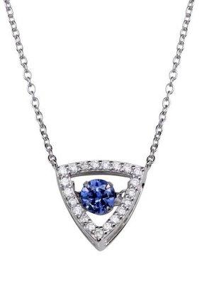 Qualita In Argento Italian Sterling Blue Topaz Triangle Dancing Swarovski Necklace