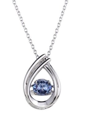 Qualita In Argento Sterling Silver Blue Topaz CZ Teardrop Dancing Stone Necklace