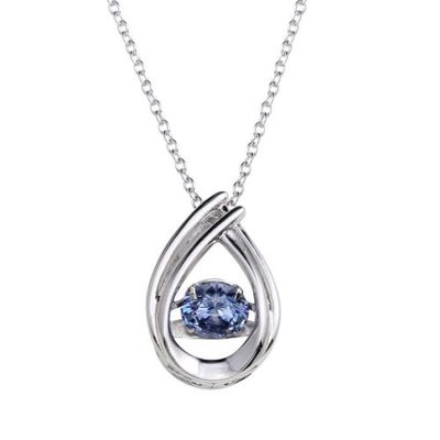 Qualita In Argento Italian Sterling Silver Blue Topaz CZ Teardrop Dancing Stone Necklace