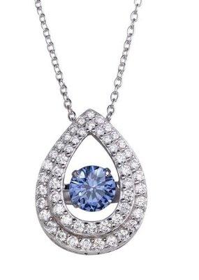 Qualita In Argento Sterling Silver Teardrop Blue Topaz Dancing Swarovski Stone Necklace