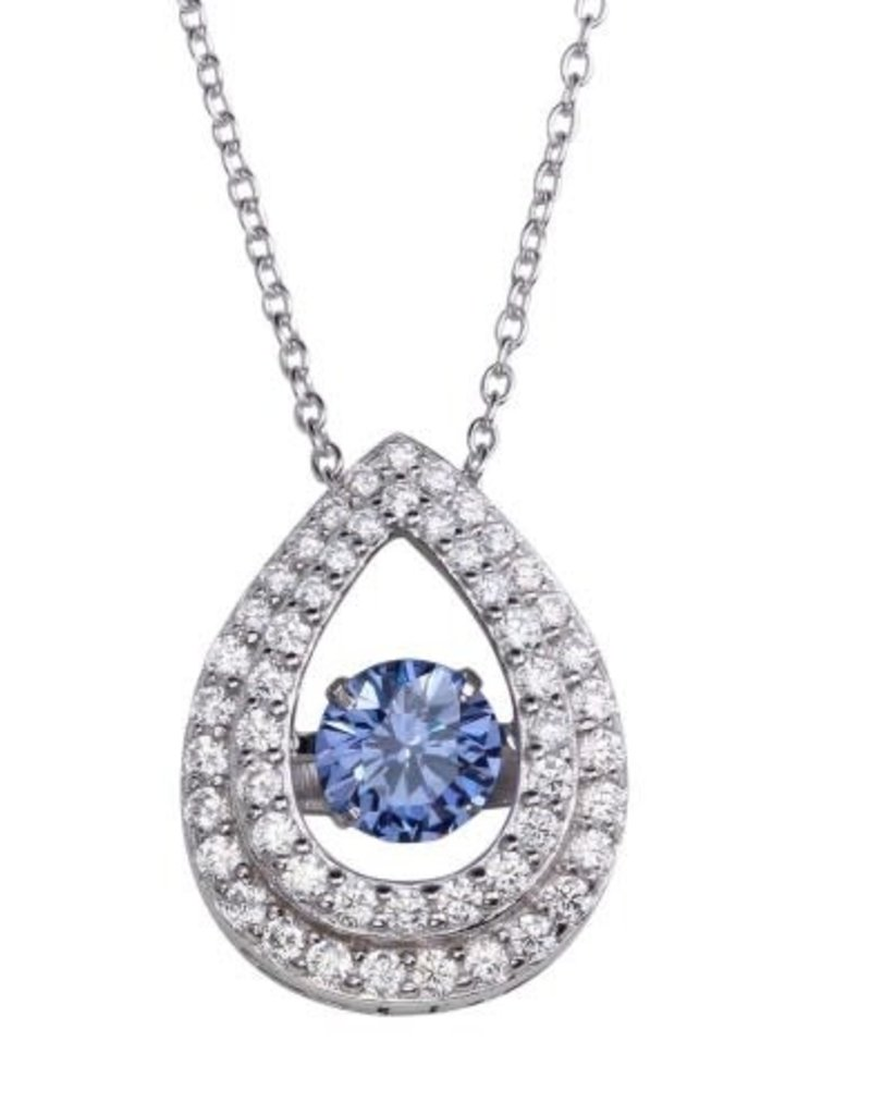 785842eab7d59c Qualita In Argento Italian Sterling Silver Teardrop Blue Topaz Dancing  Swarovski Stone Necklace ...