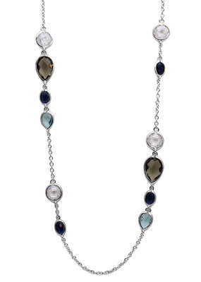 Sterling Silver Long Necklace with Multi Austrian Crystals
