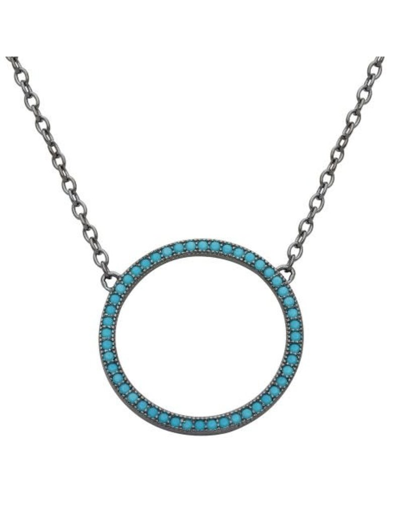 Sterling Gunmetal Turquoise Open Circle Necklace