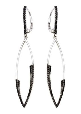 Qualita In Argento Sterling Silver Black CZ Marquee Drop Earring