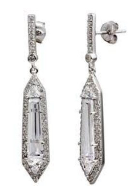 Sterling Silver Rhodium Plated Dangle Clear CZ Earring