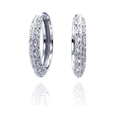 Qualita In Argento Italian Sterling Silver Micro Pave Clear CZ Hoop Earrings