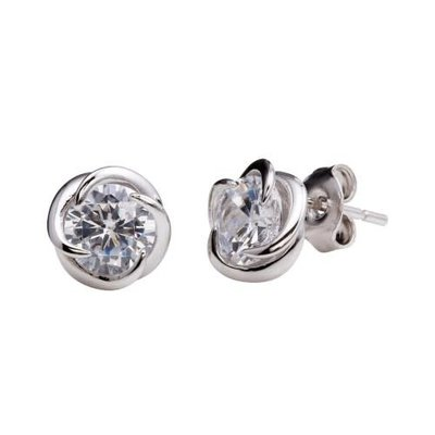 Qualita In Argento Italian Sterling Silver Celtic Wrapped CZ Stud Earring