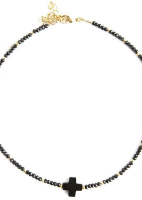 Lenny & Eva Faith Over Fear Cross Cord Choker Black Agate