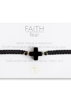 Lenny & Eva Faith Over Fear Cross Cord Bracelet Black Agate