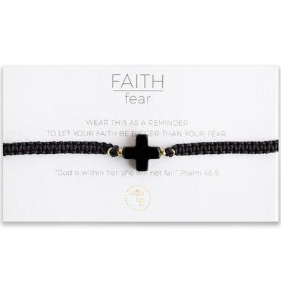 Lenny & Eva Faith Over Fear Cross Cord Bracelet Black Agate