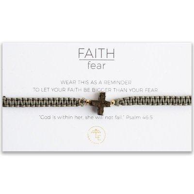 Lenny & Eva Faith Over Fear Cross Cord Bracelet Pyrite