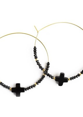 Lenny & Eva Faith Over Fear Cross Hoop Earrings Black Agate