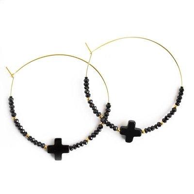Lenny & Eva Faith Over Fear Cross Hoop Earrings Black Agate