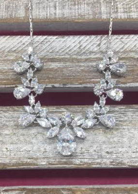 DS Bridal Cubic Zirconia Tear Drop and Marquise Necklace