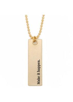 Lenny & Eva Make it Happen Gold Bar Pendant Necklace