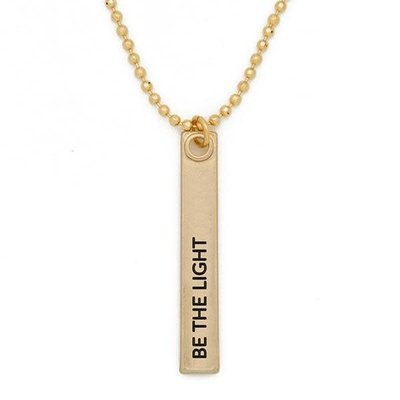 "Lenny & Eva 24"" Be the Light Gold Bar Pendant Necklace"