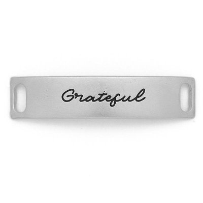 Lenny & Eva Silver Engraved Grateful Sentiment