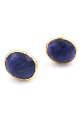 Qualita In Argento Italian Sterling Silver Gold Plated With Oval Lapis Lazuli Stud Earrings