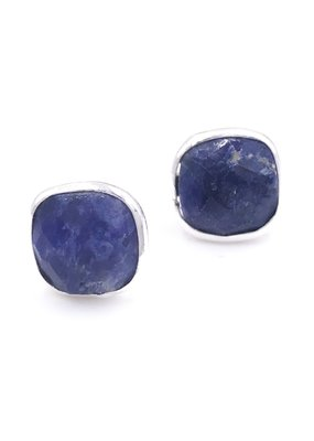 Qualita In Argento Italian Sterling Silver Rhodium Plated With Lapis Lazuli Stud Earrings